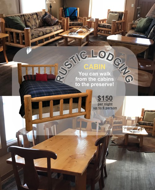 Rustic Lodging - Walk from the cabins to the Preserve!